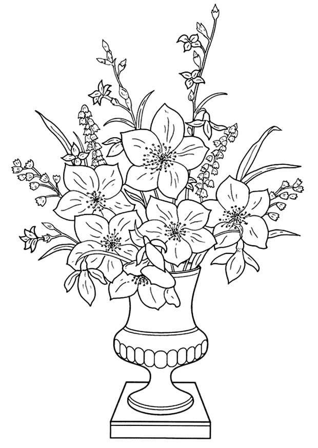 dessiner un vase avec des fleurs