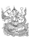 Coloriage dieu hindou Ganesh