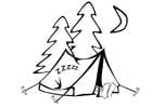 Coloriage dormir dans une tente