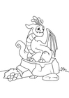 Coloriage dragon sur pierre