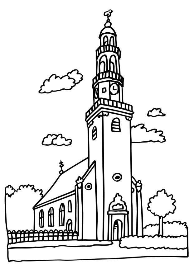 Coloriage glise img 6513 - Eglise dessin ...