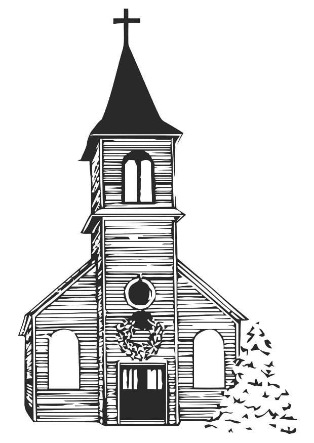 Coloriage glise en hiver img 20530 - Eglise dessin ...