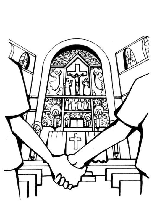 Coloriage église , mariage