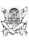 Coloriage église - mariage