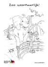 Coloriage éléphant dans le zoo