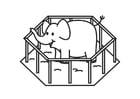 Coloriage Eléphant en cage