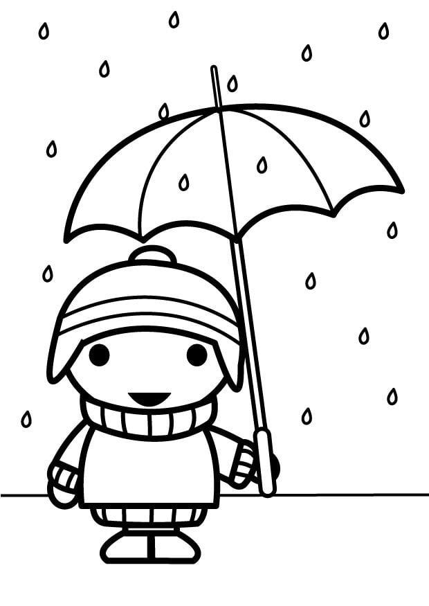 Herfst Dieren Kleurplaat Coloriage Enfant Avec Un Parapluie Coloriages Gratuits 224