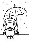 Coloriage enfant avec un parapluie