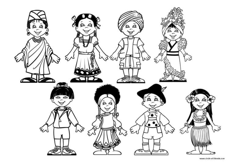 Culturas Del Mundo Para Colorear: Coloriage Enfants Du Monde