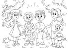 Coloriage Enfants musulman avec enfants occidentales
