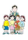 Coloriage enseignant et élèves