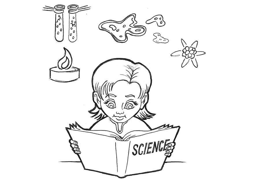 Coloriage étudier Les Sciences