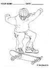 Coloriage faire du skateboard