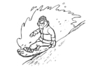 Coloriage faire du snowboard