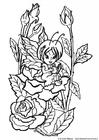 Coloriage fée entre les roses