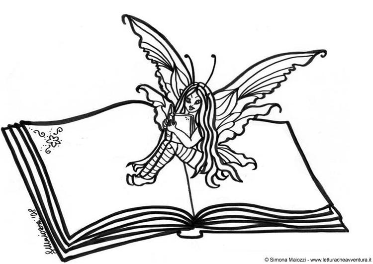 coloriage fée sur livre  coloriages gratuits à imprimer