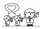 Coloriage Fète des pères avec garçon et fille