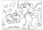 Coloriage fête des pères - chiens
