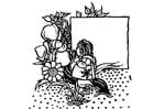 Coloriage fille au jardin
