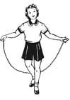 Coloriage fille avec corde à sauter