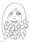 Coloriage fille avec des narcisses