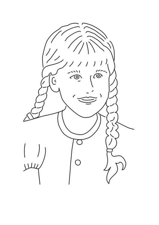coloriage fille avec des tresses - Coloriage Fille