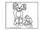 Coloriage fille avec son chien