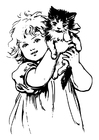 Coloriages fille avec un chat