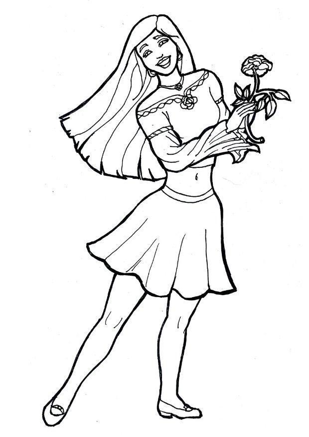 Coloriage fille avec une fleur img 7174 images - Coloriage de grande fille ...