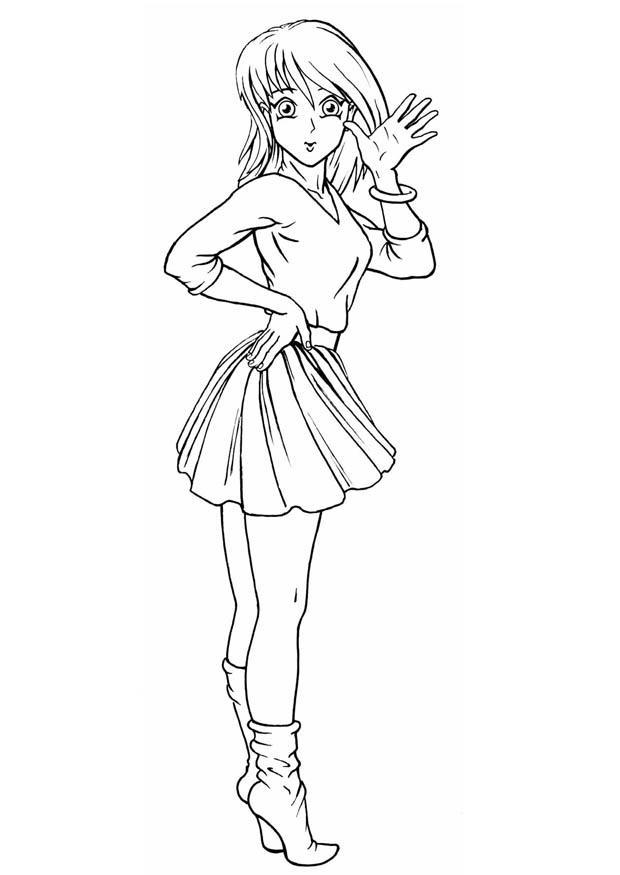 Coloriage fille img 8825 - Dessins manga fille ...
