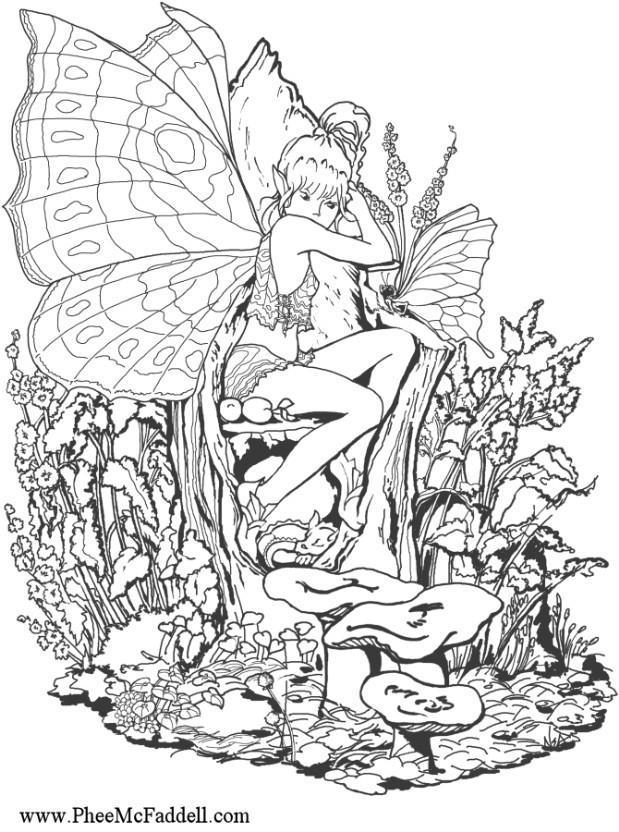 Coloriage Elfe Fille.Coloriage Fille Elfe Dans Le Bois Img 6887 Images