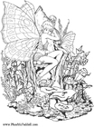 Coloriage fille elfe dans le bois