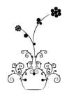 Coloriage fleurs dans un vase