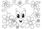 Coloriage fleurs Saint-Valentin
