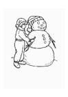 Coloriage garcon avec bonhomme de neige