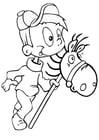Coloriage garçon avec cheval en bois