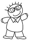 Coloriage garçon avec lunettes