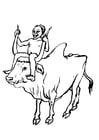 Coloriage garçon et vace