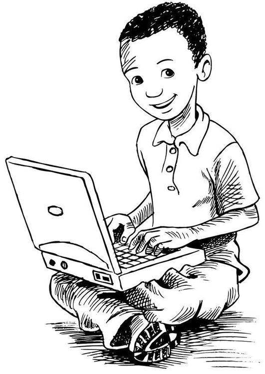 coloriage garcon utilisant son ordinateur portable i7383
