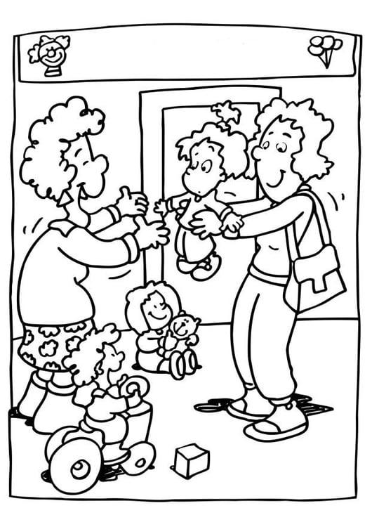 Coloriage Garderie Ecole.Coloriage Garde D Enfant Coloriages Gratuits A Imprimer