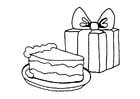 Coloriage gâteau et cadeau