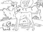 Coloriage grand chien et petit chien