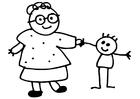 Coloriage grand-mère et enfant