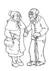 Coloriage grand-mère et grand-père