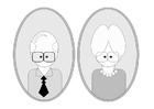 Coloriage grand-père et grand-mère