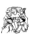 Coloriage grand-mère - fête des mères