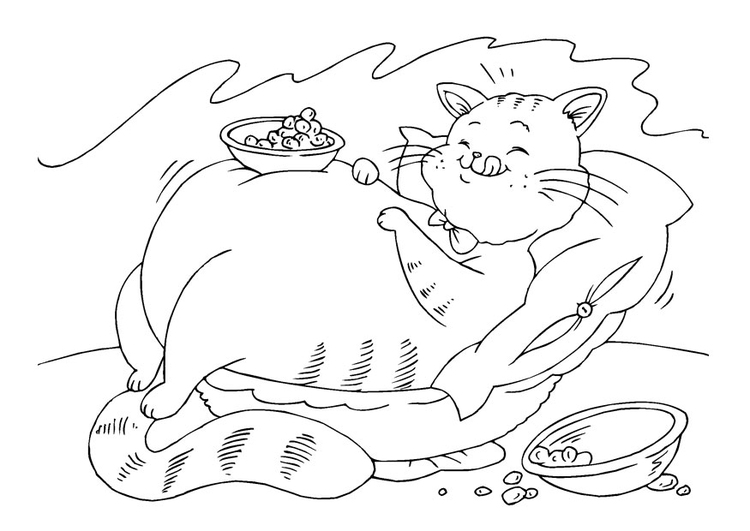 Coloriage gros chat