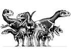 Coloriage groupe de dinosaures - squelettes