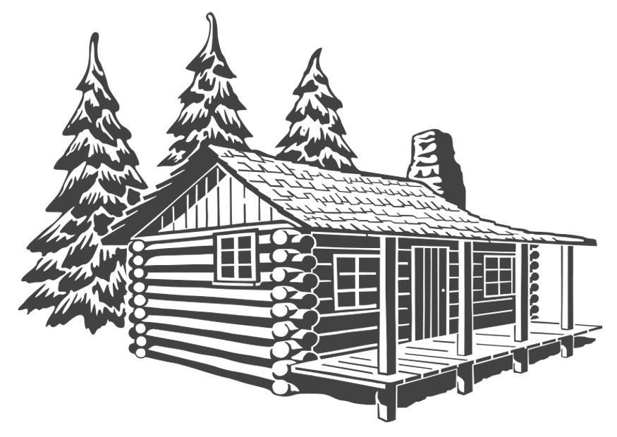 Coloriage habitation en bois