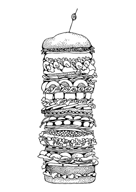Coloriage hamburger - img 17325